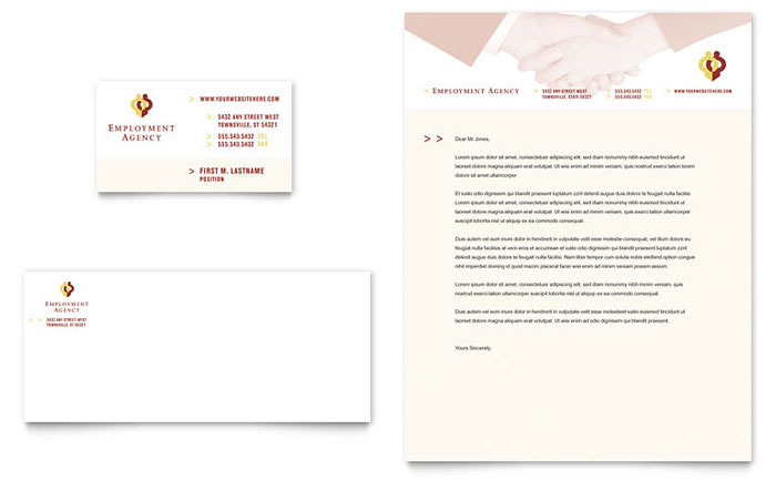 Employment Agency & Jobs Fair Business Card & Letterhead Template Download - Word & Publisher - Microsoft Office