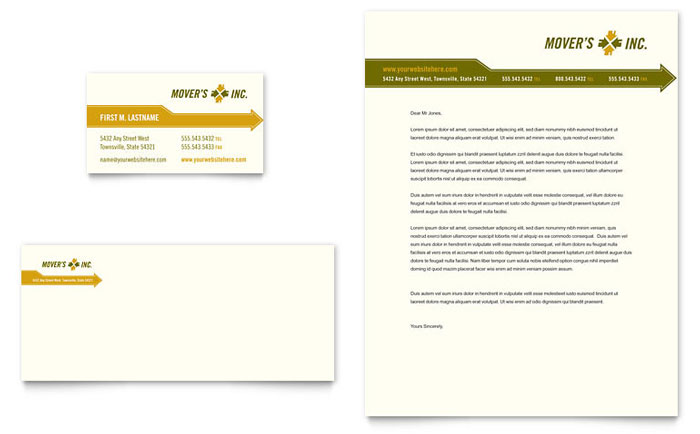 moving service business card  u0026 letterhead template