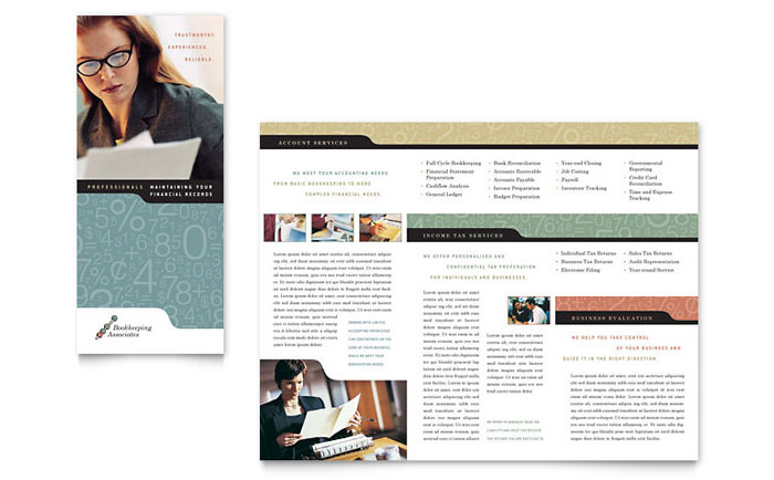 Bookkeeping accounting services tri fold brochure for Free bookkeeping brochure templates