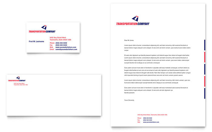 Transportation Company Business Card & Letterhead Template - Word