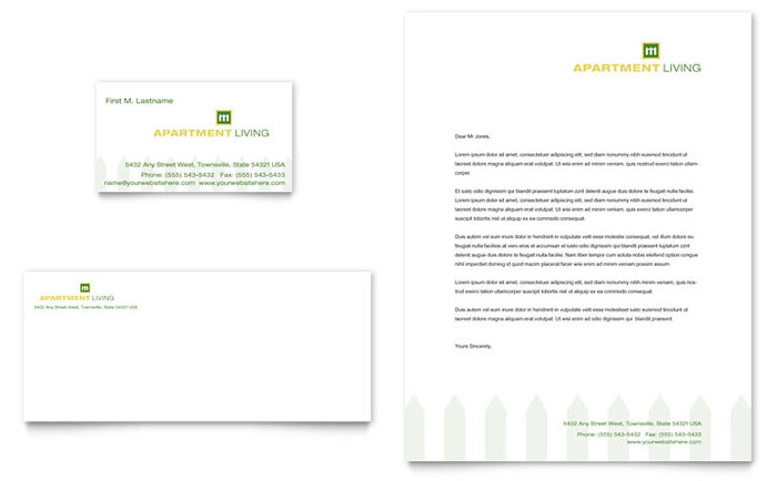 Apartment Living Business Card & Letterhead Template Download - Word & Publisher - Microsoft Office