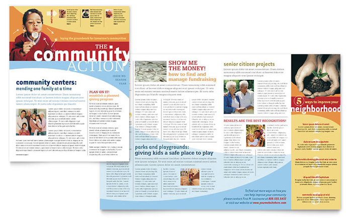 Community Non Profit Newsletter Template Word Publisher - One page newsletter template publisher