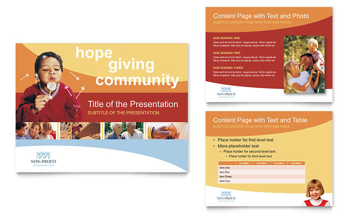 Community Non Profit PowerPoint Presentation Template Download - Microsoft Office