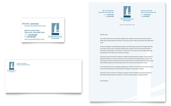Commercial Developer Business Card & Letterhead Template Download - Word & Publisher - Microsoft Office