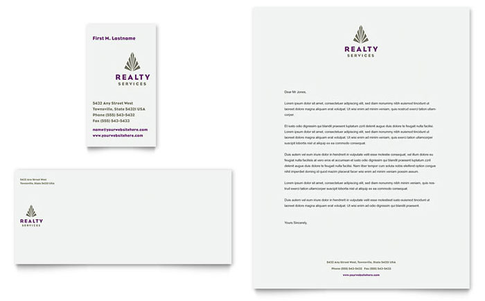 Realty Services Business Card & Letterhead Template - Word & Publisher