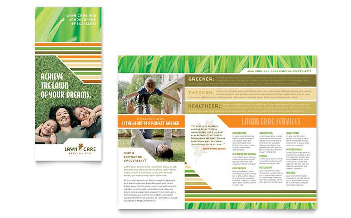 lawn care  u0026 mowing brochure template