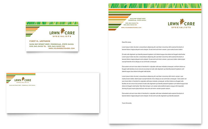 Lawn Care & Mowing Business Card & Letterhead Template Download - Word & Publisher - Microsoft Office