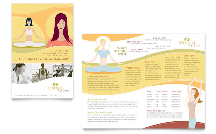 yoga brochure templates yoga instructor studio brochure template word publisher