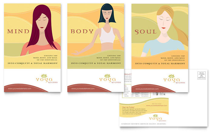 Yoga instructor studio postcard template word publisher for Yoga brochure templates