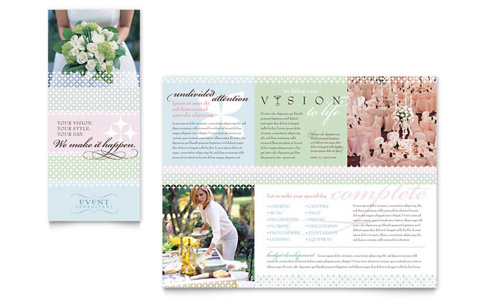 Wedding event planning brochure template word publisher for Event program template publisher
