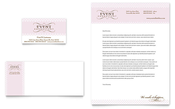 Wedding Event Planning Business Card Letterhead Template Word