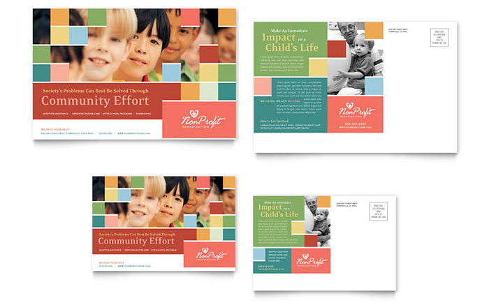 Non Profit Association for Children Postcard Template Download - Word & Publisher - Microsoft Office