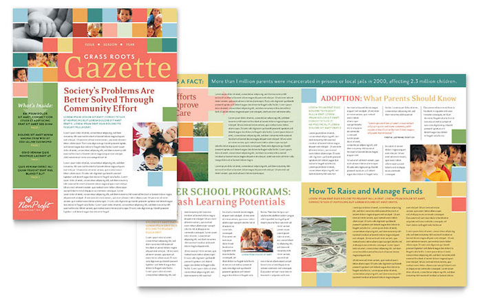 Attractive Non Profit Association For Children Newsletter Template   Word U0026 Publisher  News Letter Formats