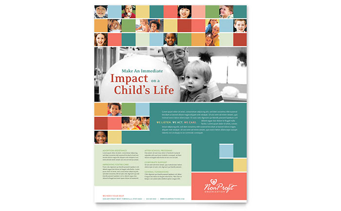 Non Profit Association for Children Flyer Template - Word & Publisher