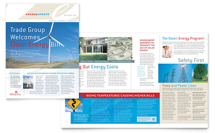 Utility & Energy Company Newsletter Template - Word & Publisher