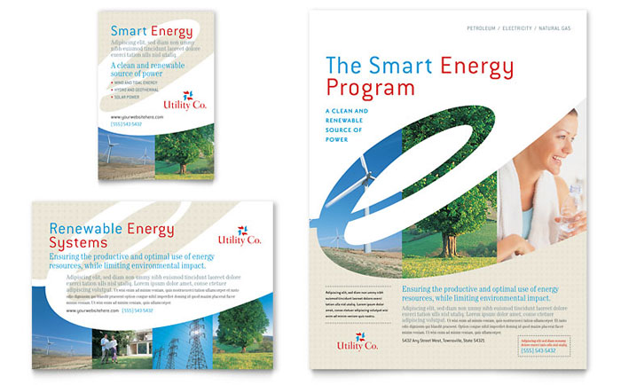 Utility & Energy Company Flyer & Ad Template - Word & Publisher
