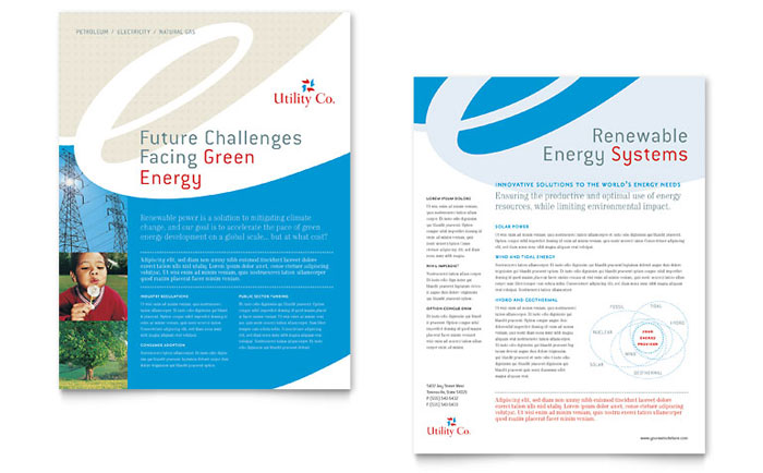 Utility & Energy Company Datasheet Template - Word & Publisher