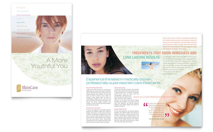 Skin care clinic brochure template word publisher for Clinic brochure template