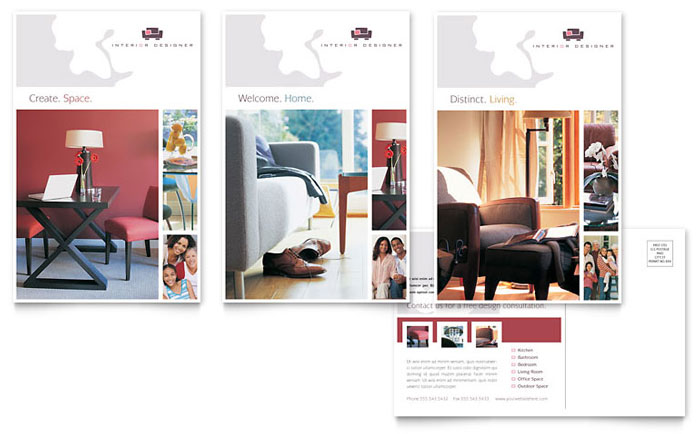 Interior Designer Postcard Template Word Publisher