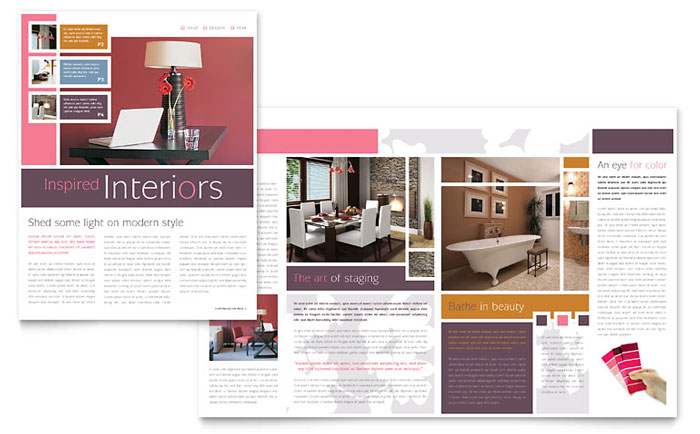 Interior designer newsletter template word publisher for Interior design layout templates