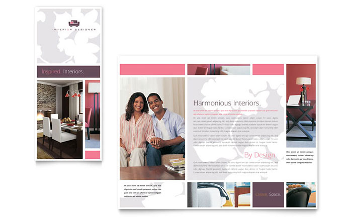 Interior Designer Tri Fold Brochure Template  Word  Publisher