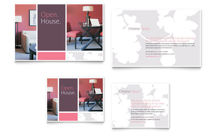 Interior designer note card template word publisher for Interior design layout templates free