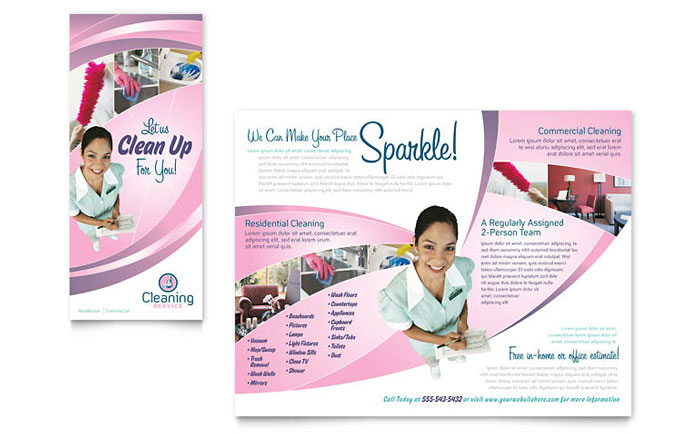 House Cleaning & Maid Services Brochure Template - Word & Publisher