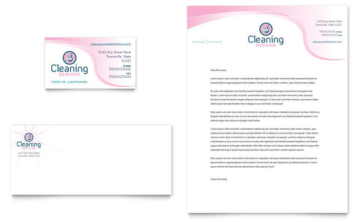 house cleaning maid services business card letterhead template
