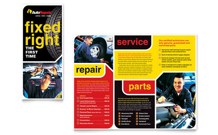 Auto repair brochure template word publisher for Automobile brochure design