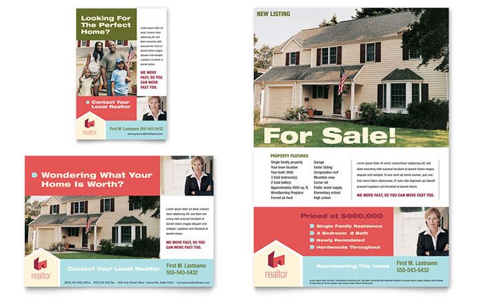 Home real estate flyer ad template word publisher for Ad house