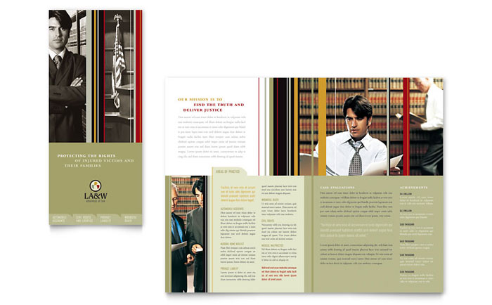 Lawyer & Law Firm Tri Fold Brochure Template - Word & Publisher