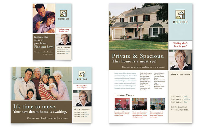 House For Sale Real Estate Flyer Ad Template Word Publisher - Real estate sales brochure template