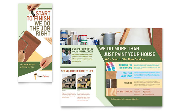 Painter Painting Contractor Brochure Template Word Publisher
