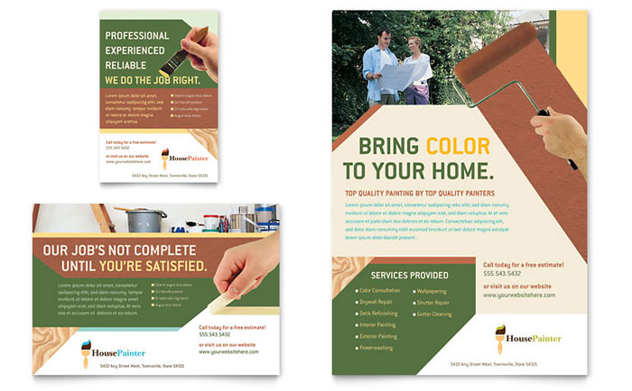 Painter Painting Contractor Flyer Ad Template Word Publisher