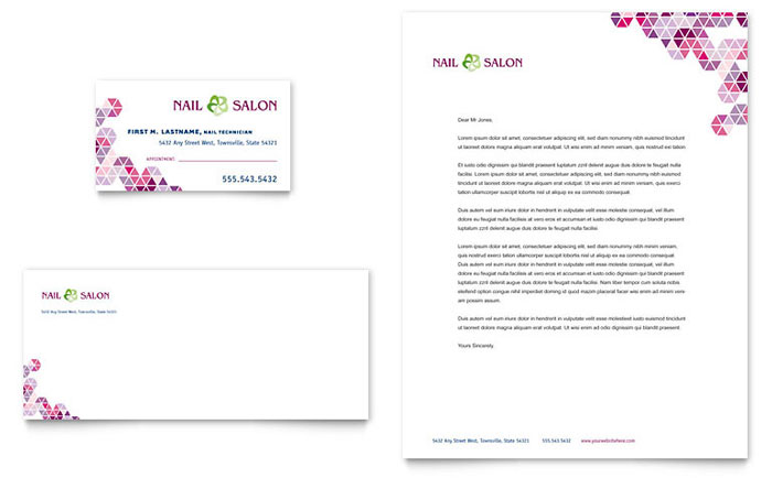 Nail Salon Business Card Letterhead Template Word Publisher - Nail salon gift certificate template