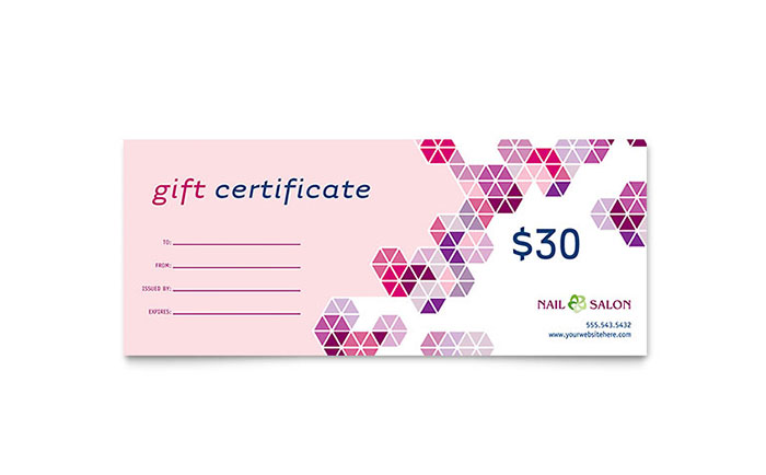 Nail salon gift certificate template word publisher for Free beauty gift voucher template