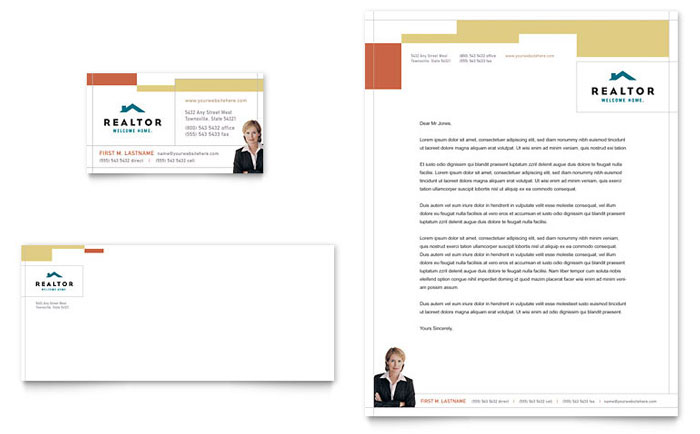 Realtor & Real Estate Agency Business Card & Letterhead Template - Word & Publisher