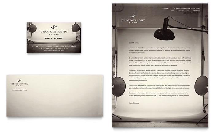 Photography Studio Business Card Letterhead Template Word - Photography ad template