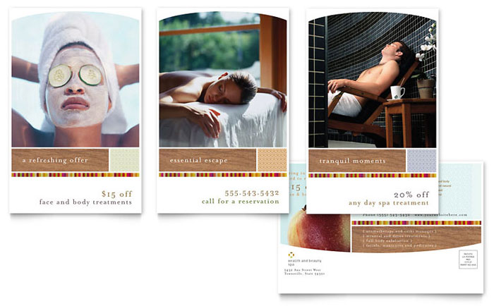 Health & Beauty Spa Postcard Template - Word & Publisher