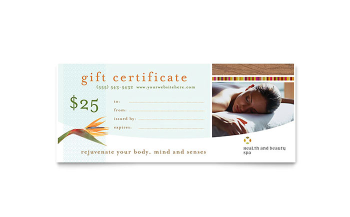 Health & Beauty Spa Gift Certificate Template - Word ...
