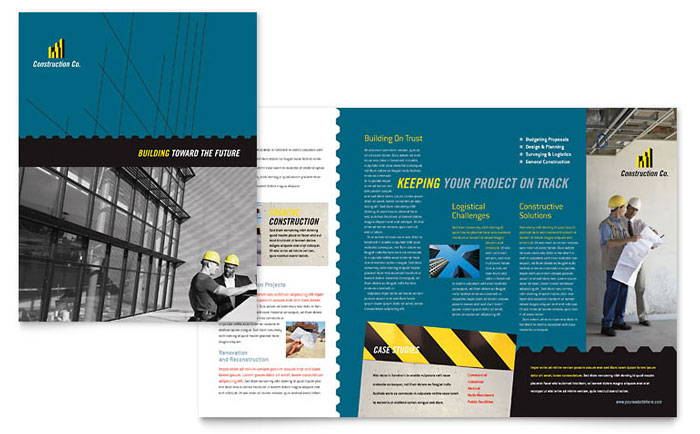 Industrial commercial construction brochure template for Microsoft works templates brochure
