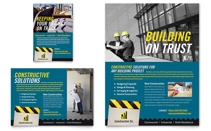 Industrial commercial construction flyer ad template for Construction brochure design pdf