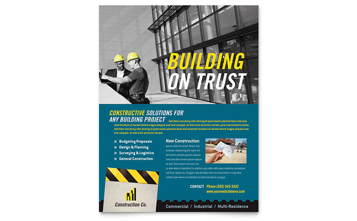 Industrial & Commercial Construction Flyer Template Download - Word & Publisher - Microsoft Office