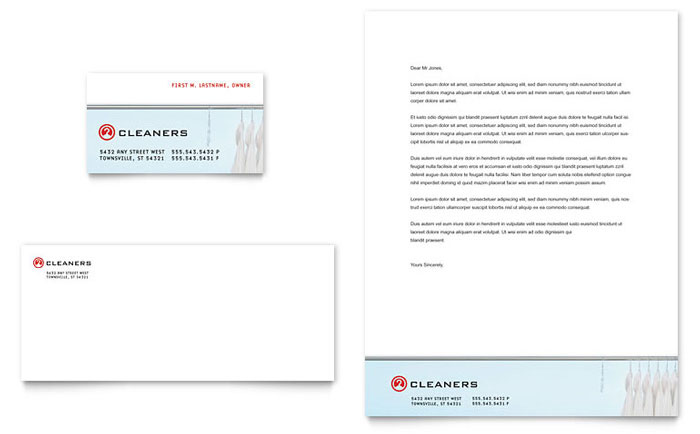 Laundry & Dry Cleaners Business Card & Letterhead Template Download - Word & Publisher - Microsoft Office