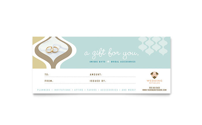 Wedding Store Supplies Gift Certificate Template Word Publisher – Word Gift Card Template