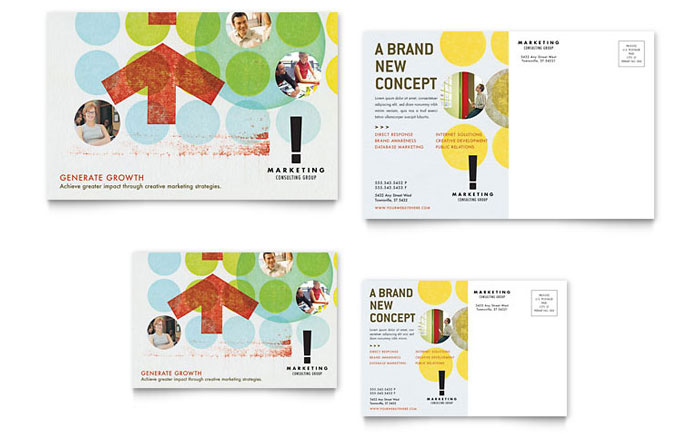Marketing Consultant Postcard Template - Word & Publisher