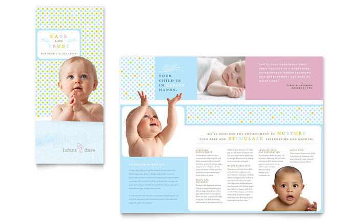 infant care  u0026 babysitting brochure template