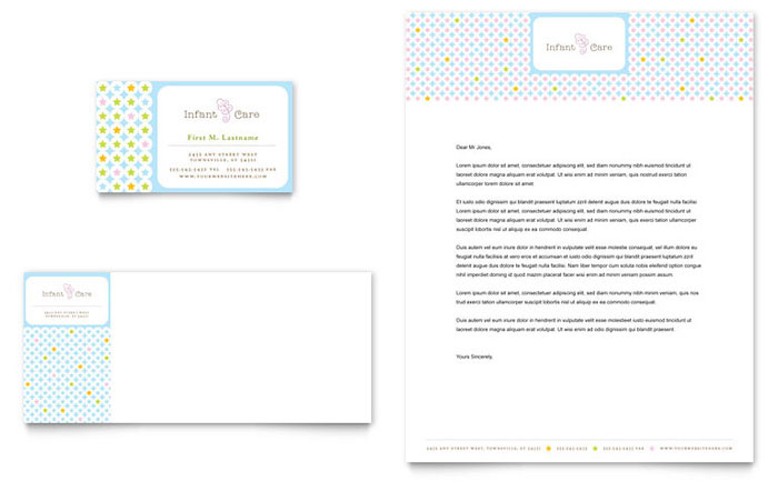 Infant Care Babysitting Business Card Letterhead Template Word