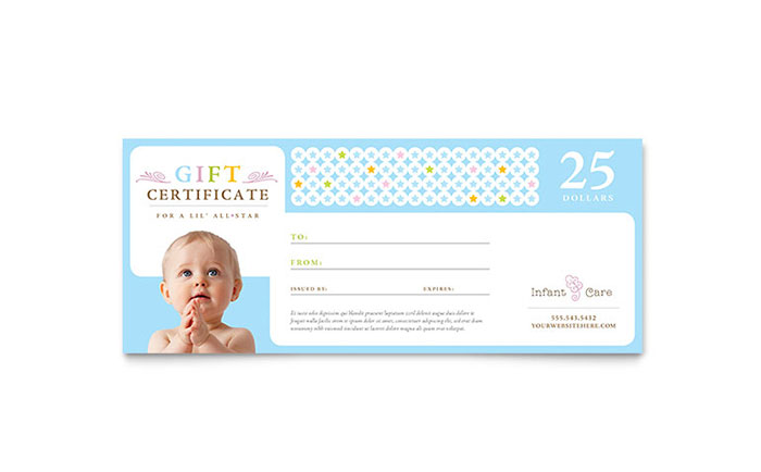 Infant Care & Babysitting Gift Certificate Template - Word & Publisher