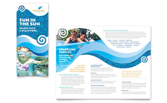 Swimming pool cleaning service brochure template word for Free brochure templates publisher